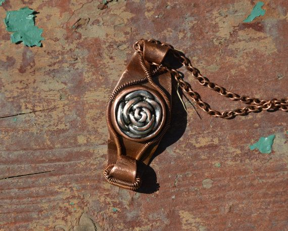 silver rose necklace copper jewelry copper by CopperFinger on Etsy