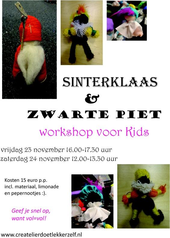 De Sint is weer in 't land en dus wordt het tijd om lekker crea Coole Pietjes en Toffe Klaasjes te gaan maken!  Geef je op via www.createlierdoetlekkerzelf.nl