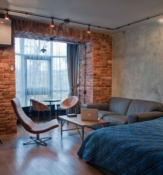 Фотография: Спальня в стиле Лофт, Малогабаритная квартира, Квартира, Студия…