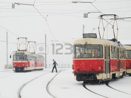 Driver is having break at the final stop of trams in Prague Stock Photo