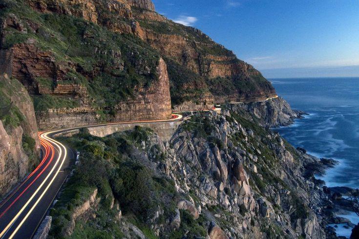 Chapman's Peak Drive winds between Houts Bay and Noordhoek in Cape Town, South Africa.