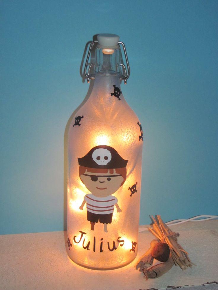 """Flaschenlampe """"Pirat"""" http://de.dawanda.com/shop/avalonproject2"""