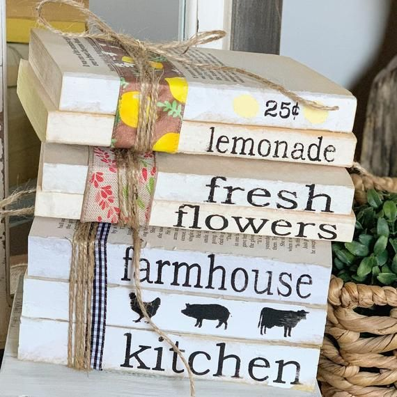 Stamped Books / Farmhouse Decor / Book Stack / Fresh