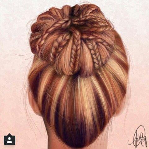 Braided bun drawing♥ #instagram   Drawing♥   Haare ...