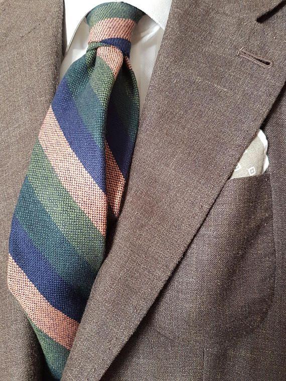 Handmade Bespoke Unlined Necktie Wool Silk Linen