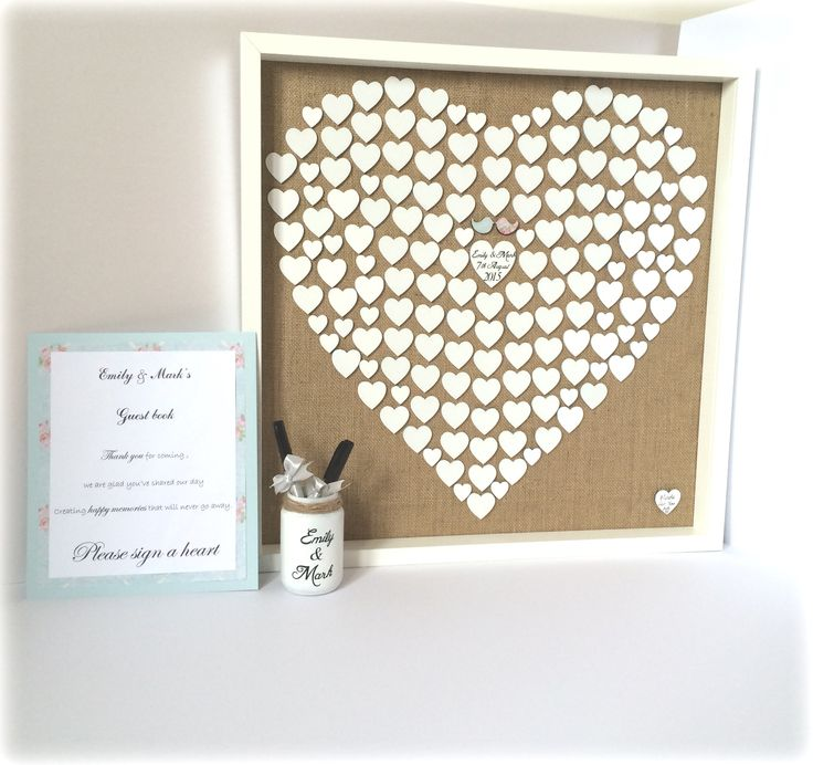 Customised to suit the theme of your wedding, these alternative guest books are the perfect way to have a visual reminder of all your wedding guests.   Simply remove the glass for the day and guests use the pens provided to write their name on a heart.   These hearts are 5cm and 3cm. For smaller