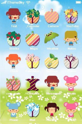 Cute Cartoon Apple - iphone Theme