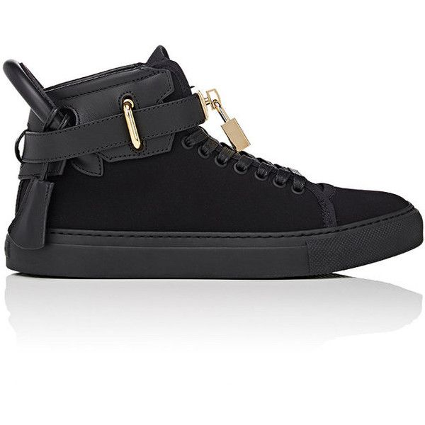 Buscemi Women's Women's 100MM Neoprene Sneakers ($399) ❤ liked on Polyvore featuring shoes, sneakers, black, black lace up sneakers, black high top shoes, buscemi shoes, black trainers and black hi tops
