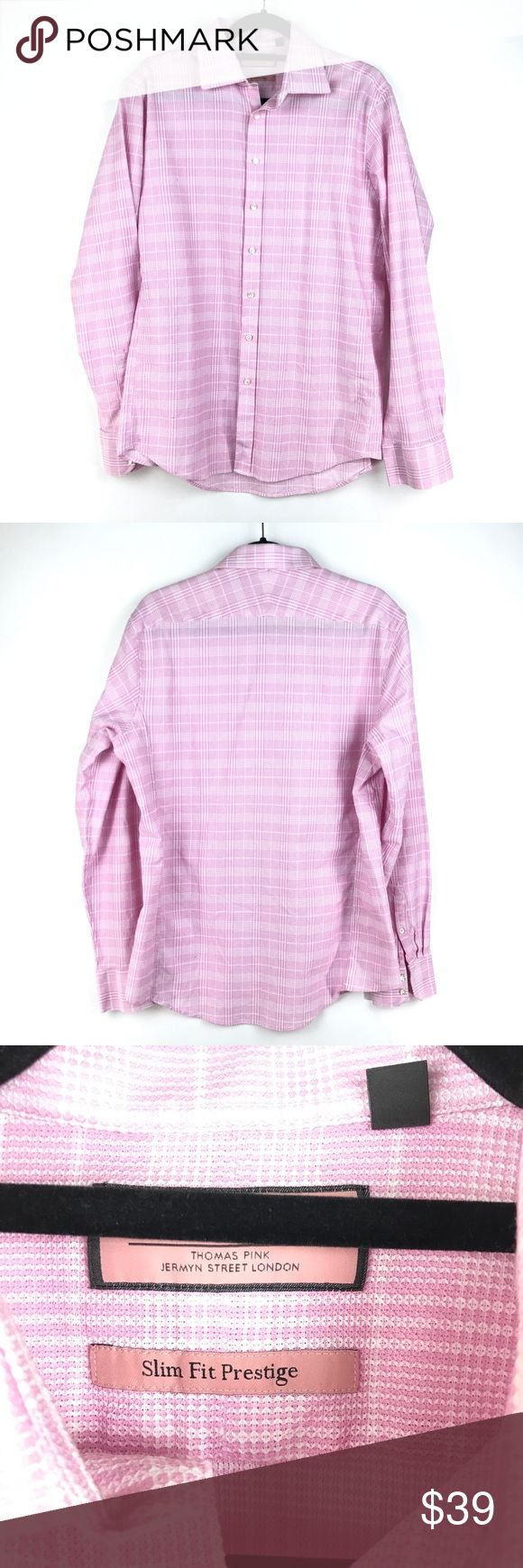 """PINK Thomas Pink SlimFit Prestige Dress Shirt 16.5 PINK Thomas Pink Size 16.5 Dress Shirt Slim Fit Prestige Pink & White Plaid M92  Measurements: Chest:  21"""" Flat Across Length: 29"""" Flat Across  In good preowned condition with no known flaws and light overall wear. Thomas Pink Shirts Dress Shirts"""