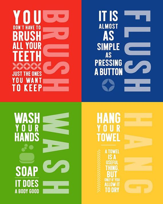 Bathroom Signs:  Brush, Wash, Flush, Hang