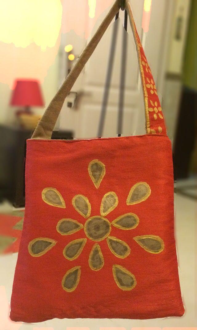 Gota work silk hand bag