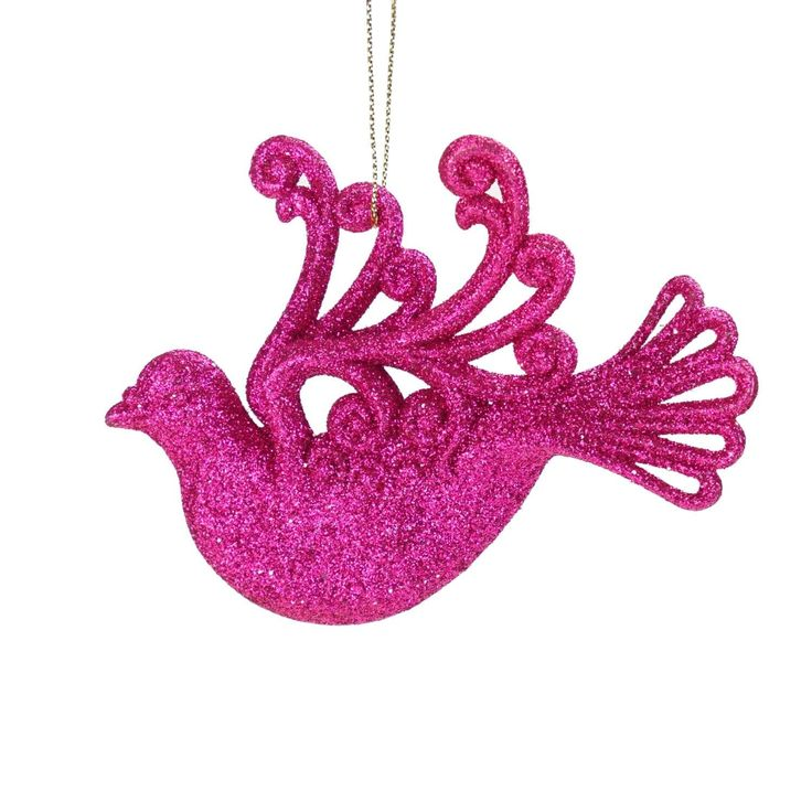 4.5 Fuchsia (Pink) Glitter Drenched Dove Bird Christmas Ornament