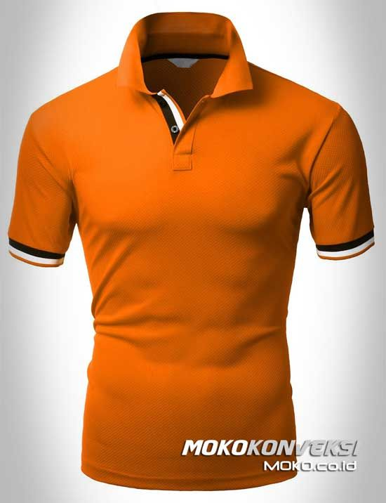 Polo Shirt Dual Stripes Accent | MOKO.CO.ID Model Kaos Polo Terbaru Warna Orange.