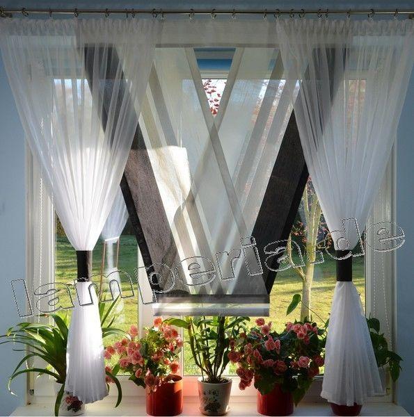 details zu fenster 160 cm gardine komplett dekoration wohnzimmer wei grau schwarz 00549 - Gotische Himmelbettvorhnge