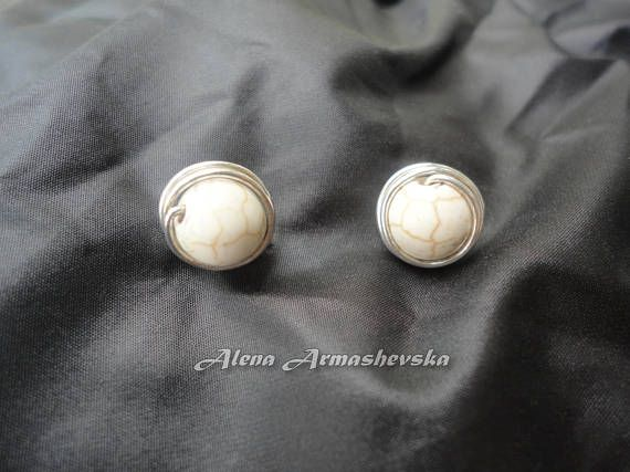 Silver howlite earrings White howlite studs Silver earrings