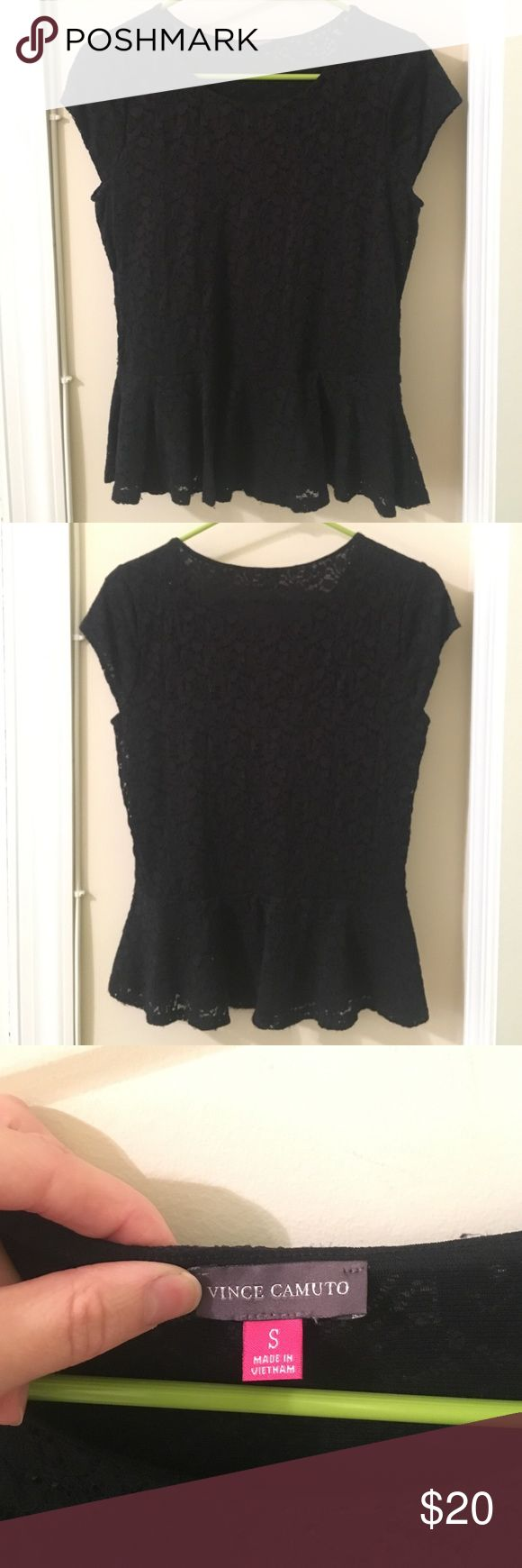 Vince Camuto Black Peplum Top Black lace peplum top. Size S. Rarely worn. Vince Camuto Tops