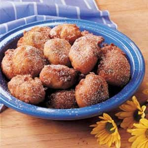 Rhubarb Fritters - I got this recipe from my niece's son. Since we live in apple country, we have enjoyed apple fritters for many years. This rhubarb treat is a nice change for spring when apples are few and rhubarb is plentiful. -Helen Budinock, Wolcott, New York