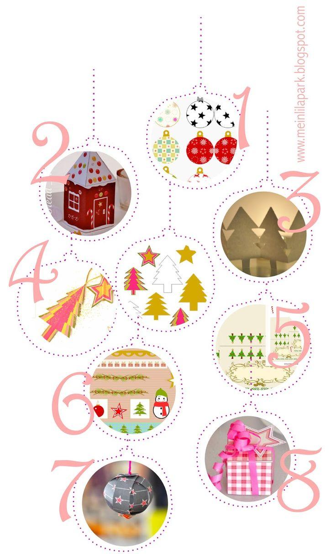 Free printable Christmas decorations ausdruckbare Weihnachtsvorlagen round up