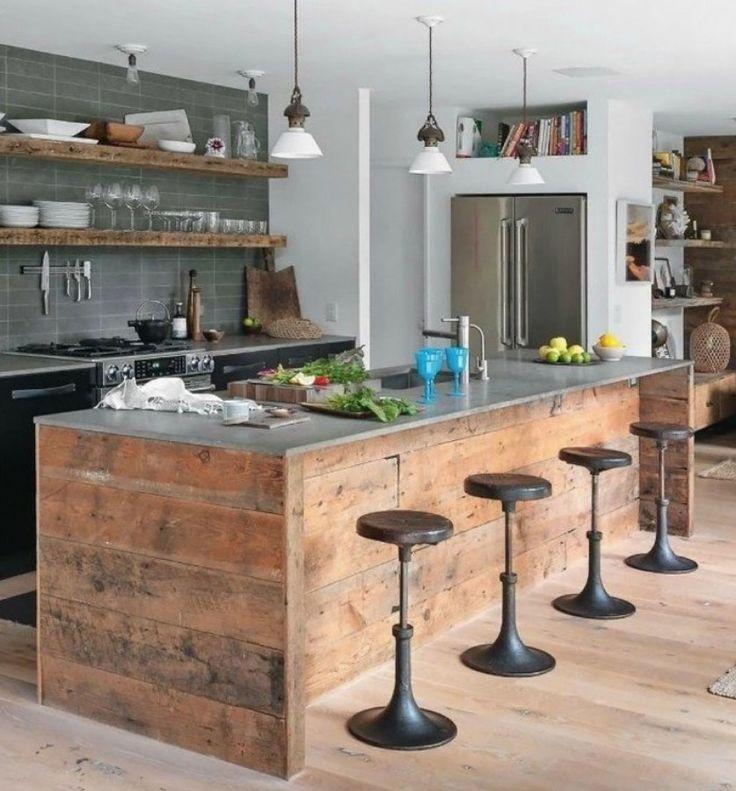 Cocina con isla rústica #madera #vintage