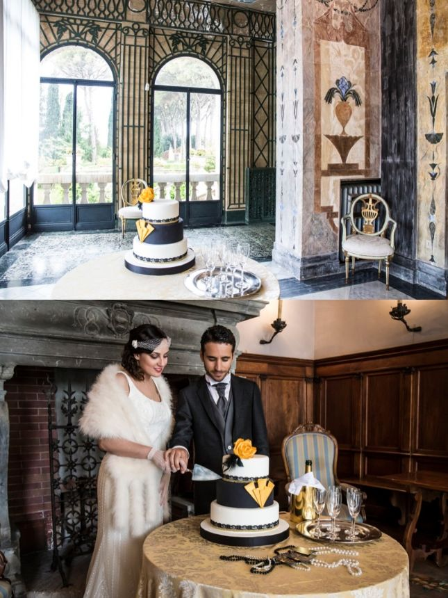 Wedding cake a piani in stile Art Decò | inspiration shoot matrimonio a tema Grande Gatsby