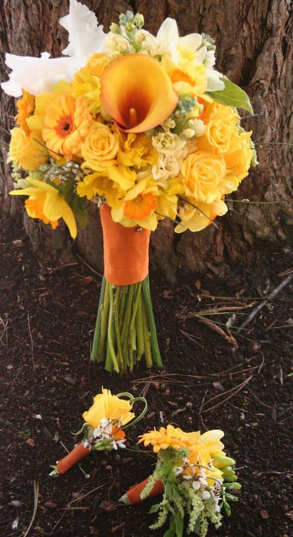 Sunny yellow bridal bouquet with artistic white accents. Daffodils, gerbera daisies, spray roses, yellow stock and yellow calla lilies. Portland, Oregon. Bohemian Bouquets.