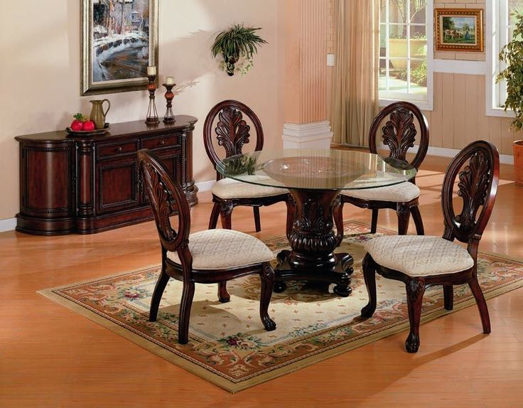 Tabitha Traditional Dark Cherry Buffet Glass Dining Table