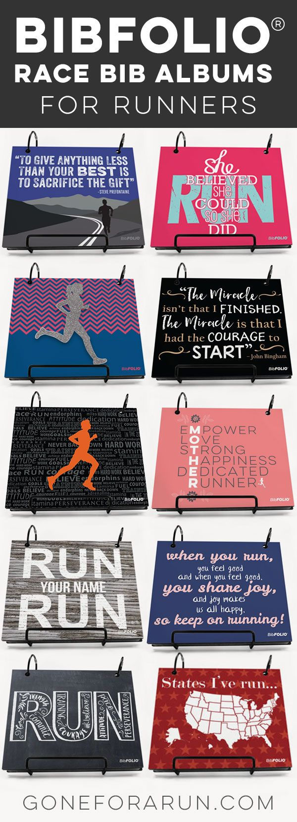 Show those hard-earned running bibs off in style with our BibFOLIO® Race Bib Albums. Choose between our classic wooden albums with bold colors and styles including chalkboard, custom printed photo, and rustic wood designs, or our subtle engraved bamboo albums. Look no further for a gift runners used to only dream of.