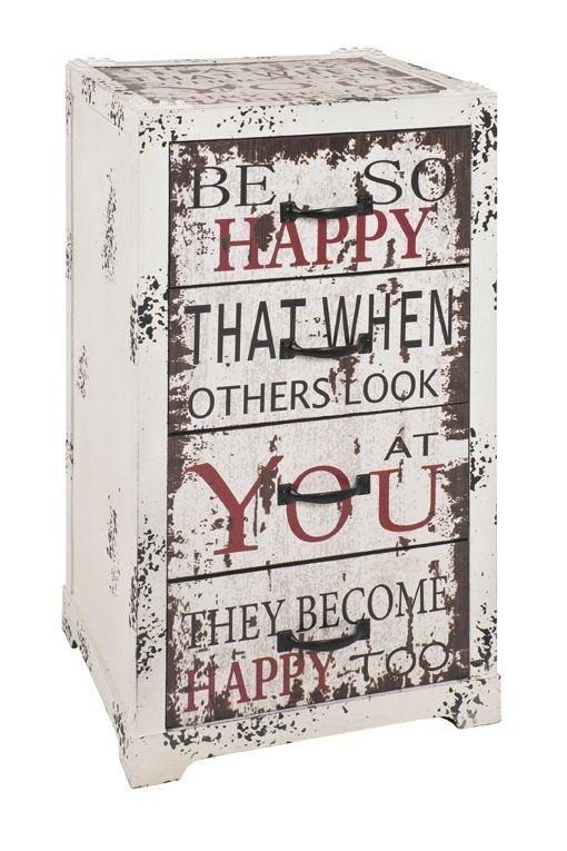 Kommode Vintage mit 4 Schubladen in Weiß mit Schriftzug. Weitere Modelle findet Ihr in unserem Shop. #Kommode #Vintage #4schubladen