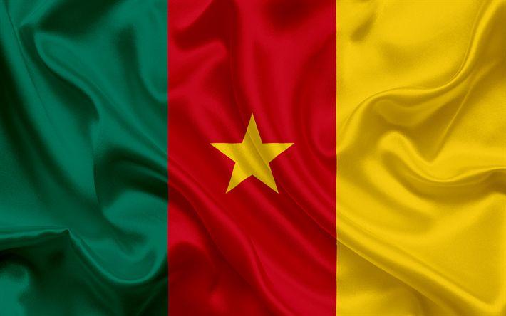 Lataa kuva Kamerunin lippu, Afrikka, Kamerun, kansalliset symbolit, lippu Kamerunin