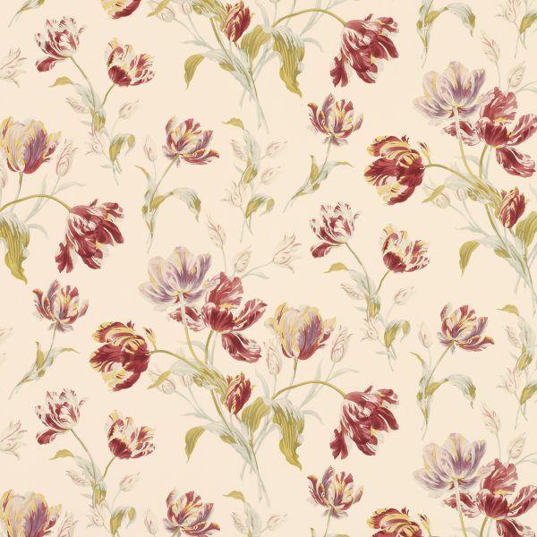 Tapetkollektion Blommor Gosford Meadow Cranberry Wallpaper