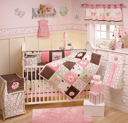Modern Baby Nursery Decorating Ideas. I like the bedding; the rest is too busy/cluttered