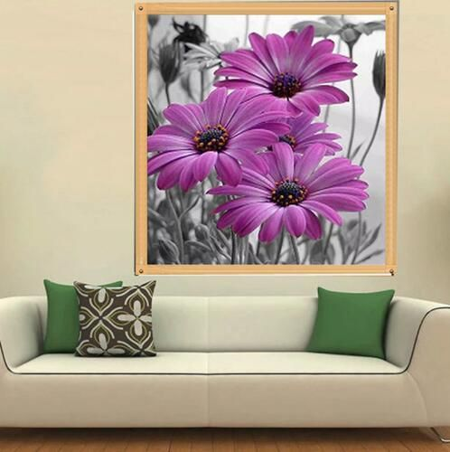 Needlework 5D Diy Diamond painting cross stitch diamond embroidery Flowers Lilac Daisies Kits Mosaic Painting Home Decoration