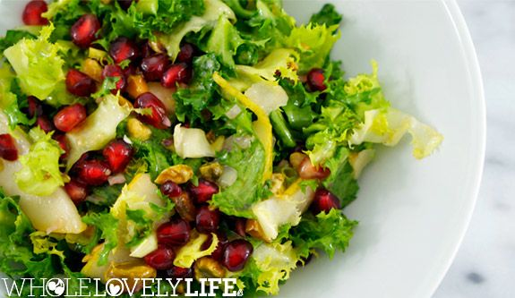Curly Endive Salad with Pomegranate, Pears and Pistachios Paleo + Vegan  www.wholelovelylife.com