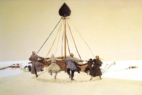 """Andrew Wyeth's """"Snow Hill"""" of dancers  dancing merrily around a beribboned pole, not a May pole as one might think at first glance, but a winter solstice pole crowned with an evergreen and surrounded by drifts of snow."""