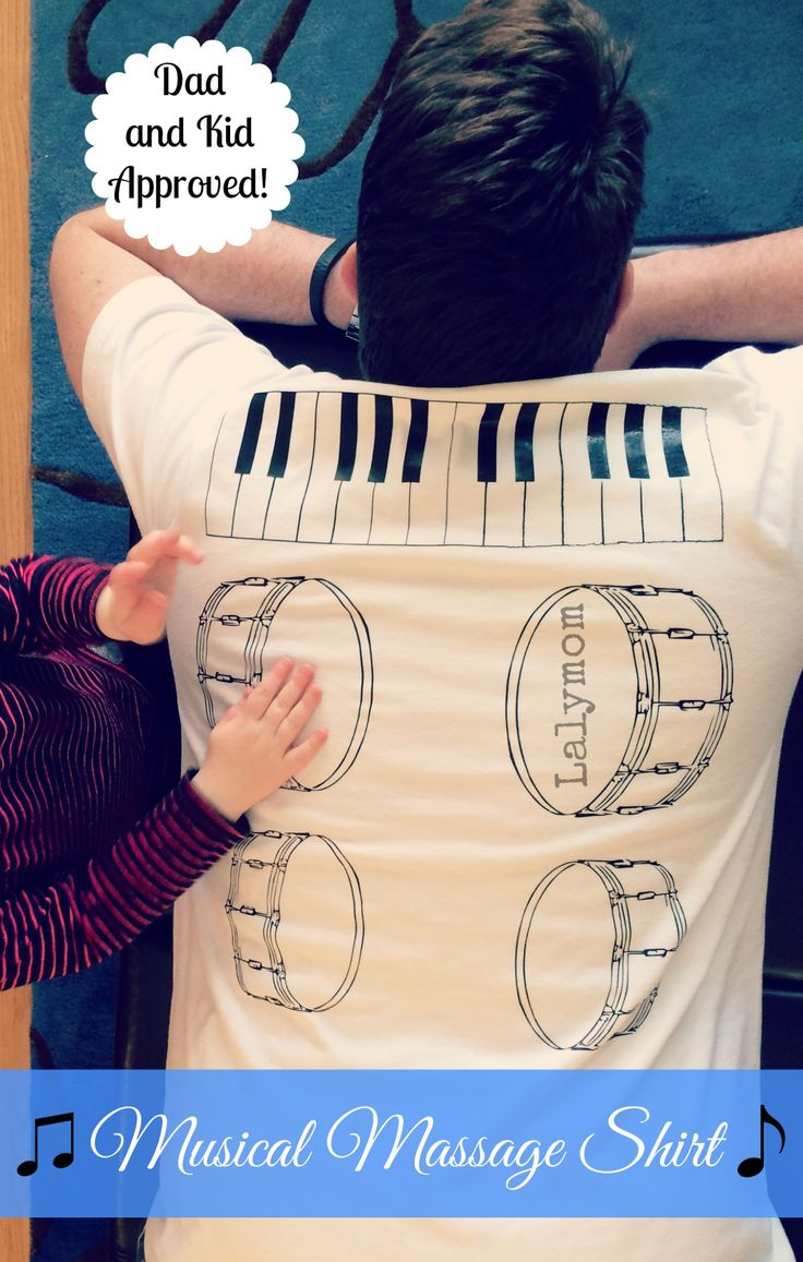 This is adorable  DIY Back Massage Shirt: A Musical Massage from Your Kids! - LalyMom Use Iron-on Vinyl to make this Dad-approved gift! Encourages quality time together and lots of fun too! #DIYGifts #CreativeMamas #KBN #ForDad