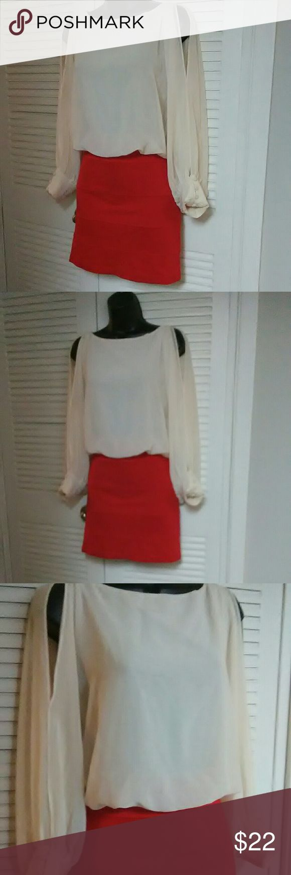 """Gameday by Chloe sz Small red/cream party dress Beautiful dress in excellent used condition. BUNDLE with other items for discount or make an offer!  16.5"""" armpit to armpit 13""""  across waist 36"""" length Gameday by Chloe Dresses"""