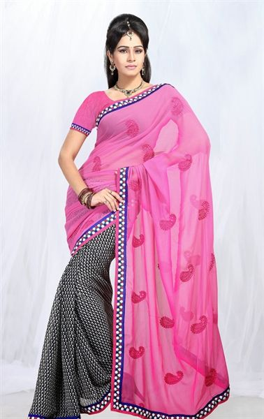 Picture of Fabulous Black and Pink Indian Saree Online