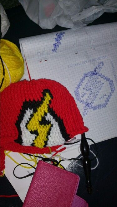 The Flash  beanie is coming along nicely.