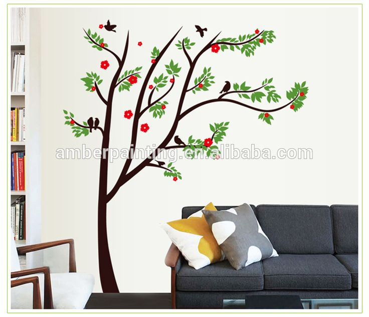 tree wall stickers with red flower for family white wall