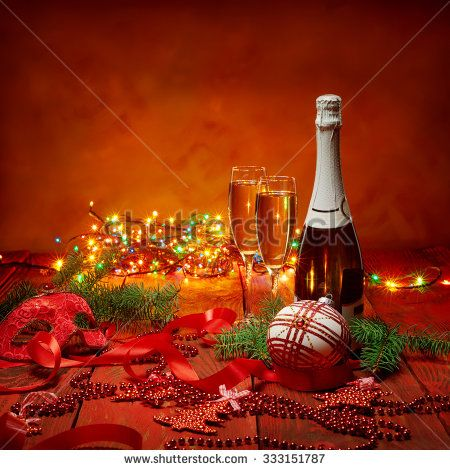 Celebration theme with champagne wine and Christmas decoration