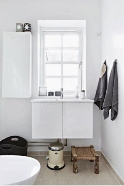 50 Amazing Scandinavian Bathroom Designs : 50 Amazing Scandinavian Bathroom Designs With White Wall And Wooden Washbasin And Window And Cabinet And Bathtub And Brown Ceramic Floor