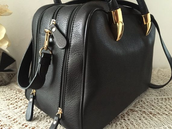 Black leather bag Women small briefcase Genuine by PomponiBags