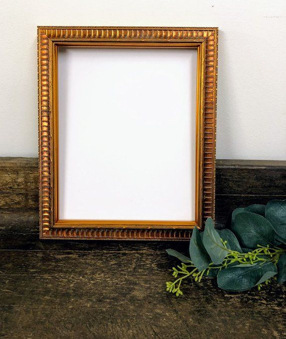 Margaux Gold Wood Picture Frame With White Mat 8x10 9x12 Etsy Frame Wood Picture Frames Frames On Wall