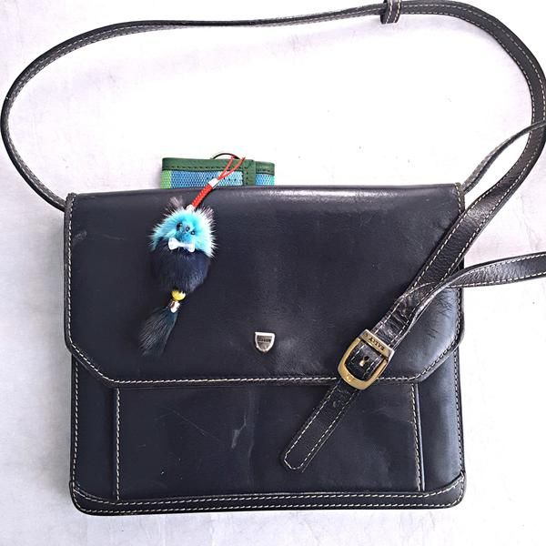 "Dark navy #vintage Bally leather cross body bag. In good vintage condition, has a few minor scratches.  Back pocket 2 compartments, inside Zipper pocket Clean  -adjustable strap 9"" width 8"" height 2"" side width"