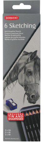 Derwent Sketching Pencil Tin 6 Assorted.