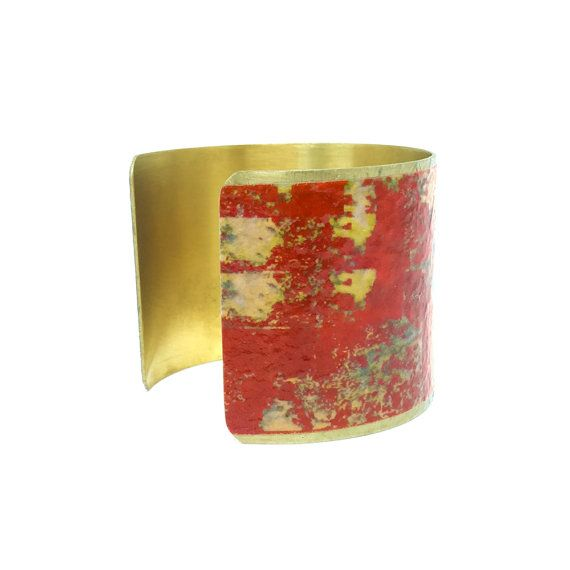 Christmas Jewelry - Brass Cuff Bracelet - Orange Statement Bracelet - Gifts for Women - Romantic Christmas Gift - Sku F15-001a
