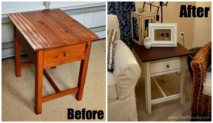 Before and after how to refinish an end table
