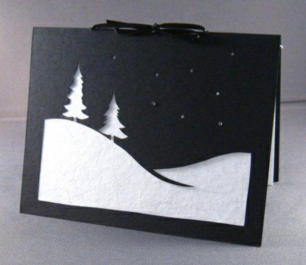 klassisch weihnachtskarten schnee basteln diy kinder winter schnee