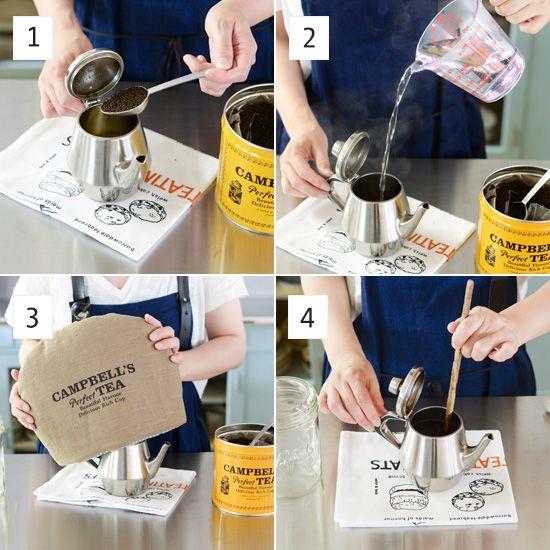 【アイスミルクティーの作りかた】  [1]ポットを温めておき、茶葉大さじ2をいれる。 [2]熱湯400mlを注ぐ。 [3]ティーコゼーなどで保温して約20分蒸らす。 [4]蒸らしたあと、数回スプーンなどでかき混ぜる。