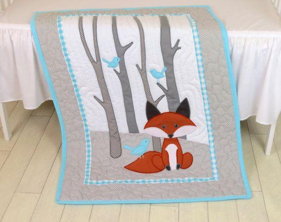 Fox Blanket, Fox Nursery Quilt, Baby Boy Quilt, Boy Crib Bedding, Forest Blanket, Aqua Gray Blanket, Custom Made